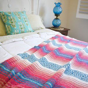 Other - Boho Mexican Blanket Cotton Candy Pink & Blue